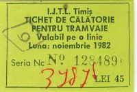 Abonament tramvai 1982