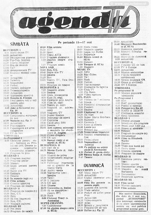 Programul tv din Agenda 1991