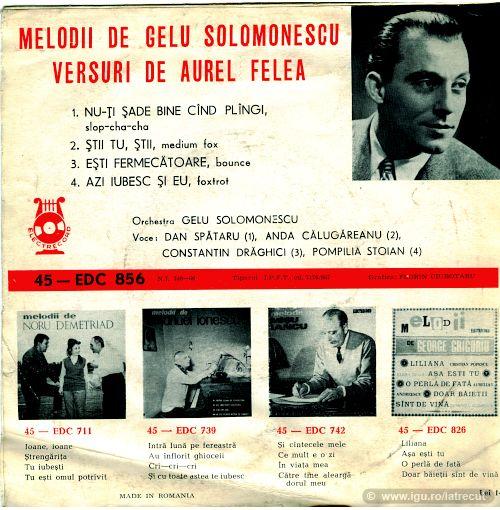 Melodii de Gelu Solomonescu (cuprins)